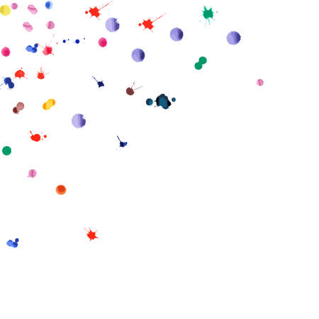 Watercolor confetti on white background. Rainbow colored blobs square corner. Colorful bright hand painted illustration. Happy celebration party background. Extra vector illustration.