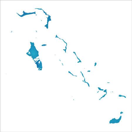 Map of Bahamas. Colourful watercolor Bahamas map. Bizarre country vector illustration.