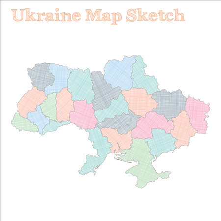 Ukraine map. Hand-drawn country. Excellent sketchy Ukraine map with regions. Vector illustration.  イラスト・ベクター素材