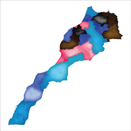 Map of Morocco. Colourful watercolor Morocco map. Powerful country vector illustration.