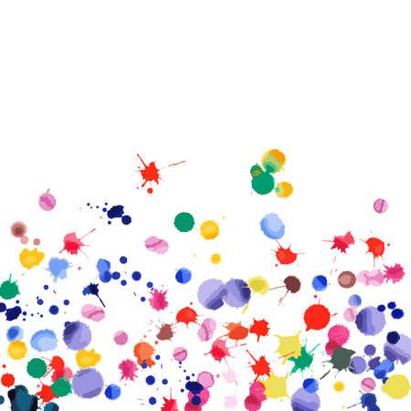 Confeti de acuarela sobre fondo blanco. Gradiente cuadrado de manchas de colores del arco iris. Ilustración pintada a mano brillante colorido. Fondo de fiesta de celebración feliz. Ilustración de vector inusual.