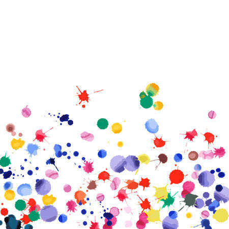 Watercolor confetti on white background. Rainbow colored blobs square gradient. Colorful bright hand painted illustration. Happy celebration party background. Unusual vector illustration. Illustration