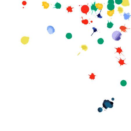 Coriandoli dell'acquerello su fondo bianco. Angolo quadrato delle macchie colorate arcobaleno. Illustrazione dipinta a mano brillante colorata. Sfondo festa felice celebrazione. Fantastica illustrazione vettoriale.