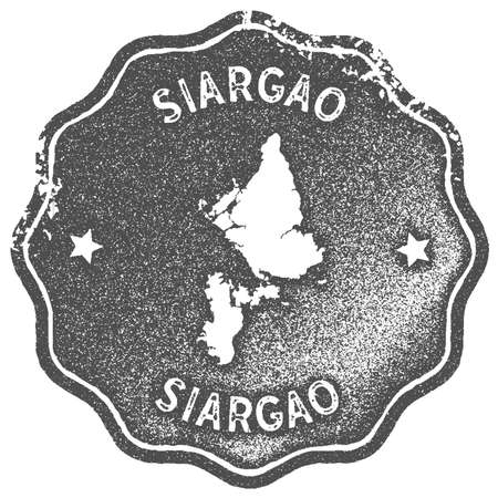 Siargao map vintage stamp. Retro style handmade label, badge or element for travel souvenirs. Grey rubber stamp with island map silhouette. Vector illustration.