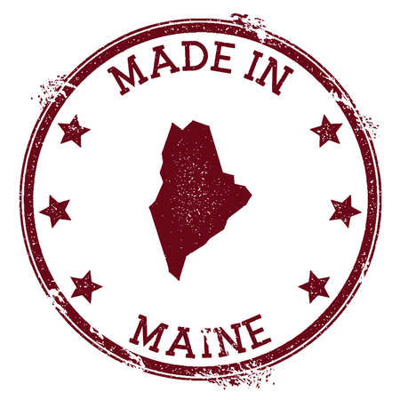Made in Maine stamp. Grunge rubber stamp with Made in Maine text and us state map. Awesome vector illustration.