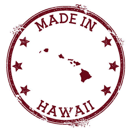 Made in Hawaii stamp. Grunge rubber stamp with Made in Hawaii text and island map. Radiant vector illustration.