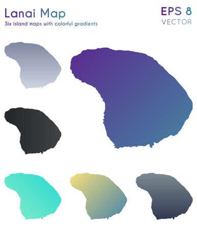 Map of Lanai with beautiful gradients. Astonishing set of Lanai maps. Delicate vector illustration.