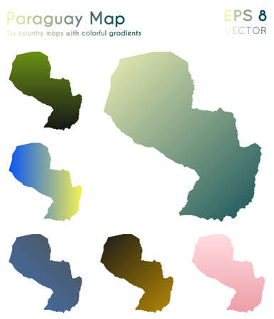 Map of Paraguay with beautiful gradients. Alluring set of Paraguay maps. Overwhelming vector illustration.