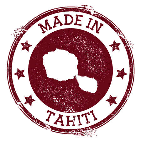 Made in Tahiti stamp. Grunge rubber stamp with Made in Tahiti text and island map. Indelible vector illustration. Illustration