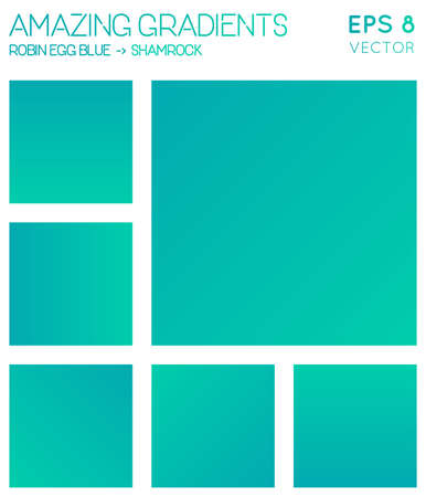 Colorful gradients in robin egg blue, shamrock color tones. Actual gradient background, dramatic vector illustration.