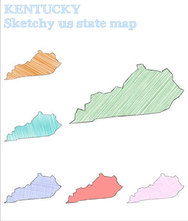 Kentucky sketchy us state. Fine hand drawn us state. Majestic childish style Kentucky vector illustration.