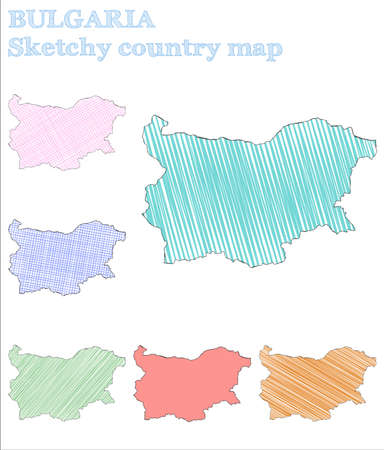 Bulgaria sketchy country. Bewitching hand drawn country. Bizarre childish style Bulgaria vector illustration.