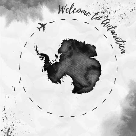 Antarctica watercolor map in black colors. Welcome to Antarctica poster with airplane trace and handpainted watercolor Antarctica map on crumpled paper. Vector illustration. Ilustração