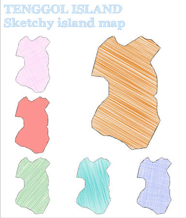 Tenggol Island sketchy island. Optimal hand drawn island. Overwhelming childish style Tenggol Island vector illustration. Illusztráció