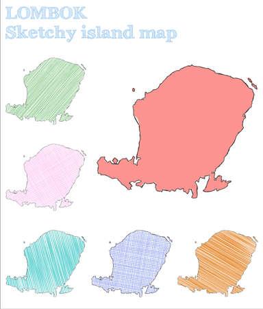 Lombok sketchy island. Beautiful hand drawn island. Bold childish style Lombok vector illustration.