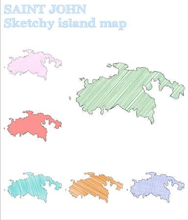 Saint John sketchy island. Glamorous hand drawn island. Graceful childish style Saint John vector illustration.