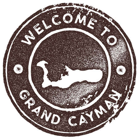 Grand Cayman map vintage stamp. Retro style handmade label, badge or element for travel souvenirs. Brown rubber stamp with island map silhouette. Vector illustration.