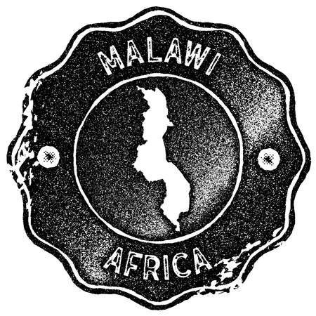 Malawi map vintage stamp. Retro style handmade label, badge or element for travel souvenirs. Black rubber stamp with country map silhouette. Vector illustration.