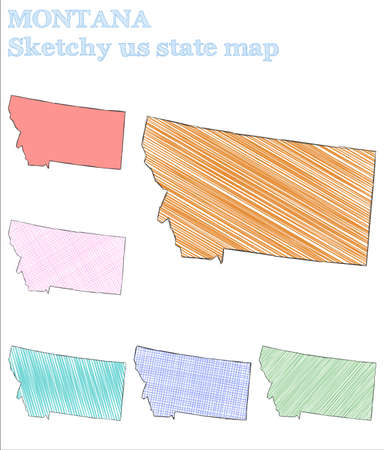 Montana sketchy us state. Ideal hand drawn us state. Optimal childish style Montana vector illustration.