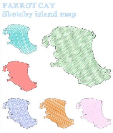 Parrot Cay sketchy island. Exotic hand drawn island. Extraordinary childish style Parrot Cay vector illustration. 일러스트