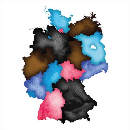 Map of Germany. Colourful watercolor Germany map. Emotional country vector illustration. Illusztráció