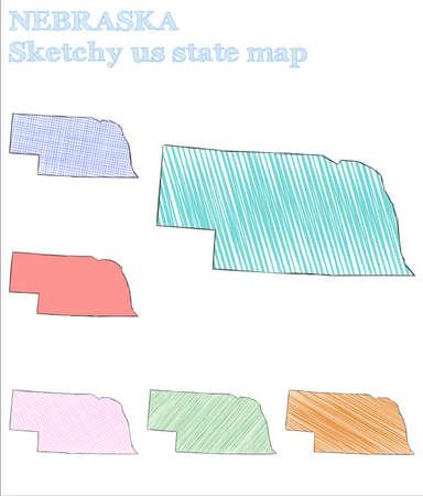 Nebraska sketchy us state. Impressive hand drawn us state. Overwhelming childish style Nebraska vector illustration. Illusztráció