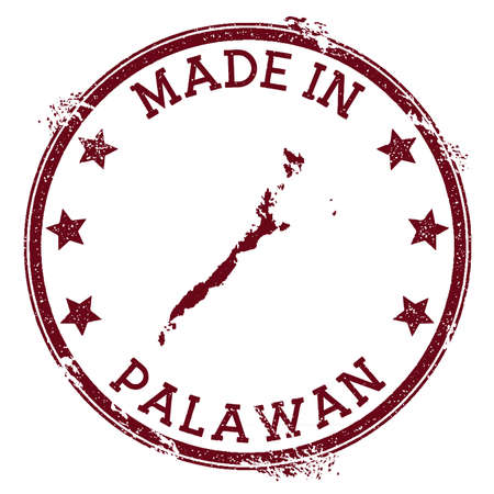 Made in Palawan stamp. Grunge rubber stamp with Made in Palawan text and island map. Splendid vector illustration.