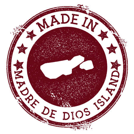 Made in Madre de Dios Island stamp. Grunge rubber stamp with Made in Madre de Dios Island text and island map. Grand vector illustration.