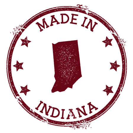Made in Indiana stamp. Grunge rubber stamp with Made in Indiana text and us state map. Actual vector illustration.