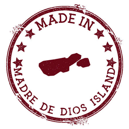 Made in Madre de Dios Island stamp. Grunge rubber stamp with Made in Madre de Dios Island text and island map. Great vector illustration.