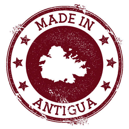 Made in Antigua stamp. Grunge rubber stamp with Made in Antigua text and island map. Awesome vector illustration. Ilustracja