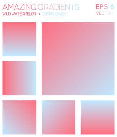 Colorful gradients in wild watermelon, cornflower color tones. Actual gradient background, cute vector illustration.