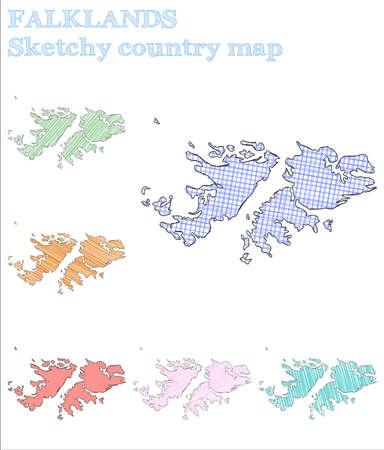Falklands sketchy country. Favorable hand drawn country. Fetching childish style Falklands vector illustration. Reklamní fotografie - 115788977