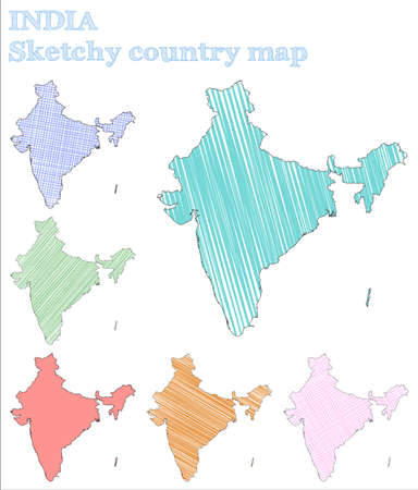 India sketchy country. Likable hand drawn country. Lively childish style India vector illustration. Illustration