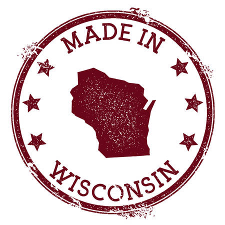 Made in Wisconsin stamp. Grunge rubber stamp with Made in Wisconsin text and us state map. Impressive vector illustration.