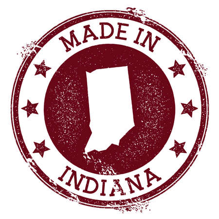 Made in Indiana stamp. Grunge rubber stamp with Made in Indiana text and us state map. Worthy vector illustration.