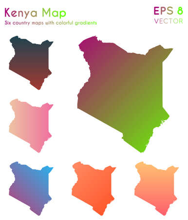 Map of Kenya with beautiful gradients. Alive set of Kenya maps. Delicate vector illustration.