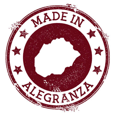 Made in Alegranza stamp. Grunge rubber stamp with Made in Alegranza text and island map. Alluring vector illustration.