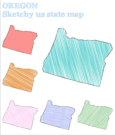 Oregon sketchy us state. Magnetic hand drawn us state. Precious childish style Oregon vector illustration.