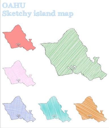 Oahu sketchy island. Ecstatic hand drawn island. Emotional childish style Oahu vector illustration.