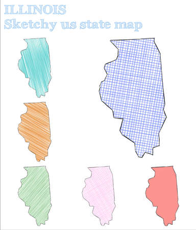 Illinois sketchy us state. Fascinating hand drawn us state. Lovely childish style Illinois vector illustration.