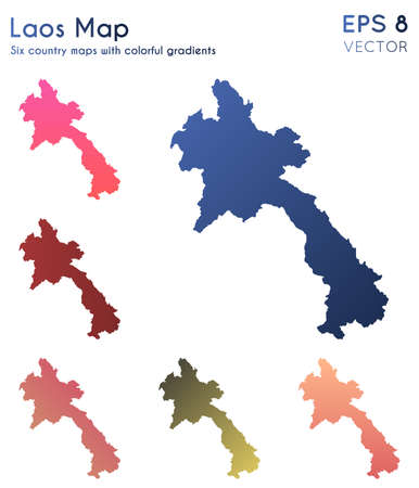 Map of Laos with beautiful gradients. Alive set of Laos maps. Favorable vector illustration. Ilustrace