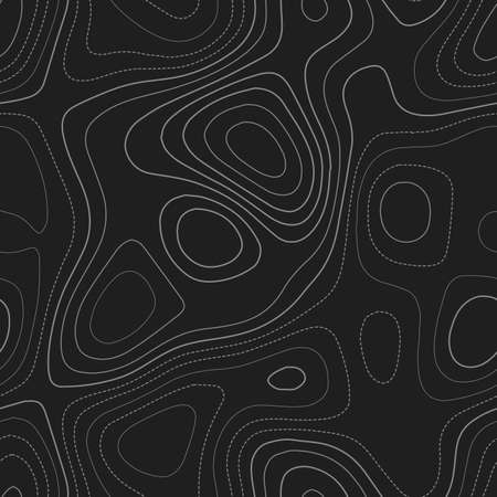 Contour lines. Admirable topography map. Dark seamless design, favorable tileable isolines pattern. Vector illustration.