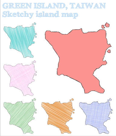 Green Island, Taiwan sketchy island. Posh hand drawn island. Powerful childish style Green Island, Taiwan vector illustration. Illustration