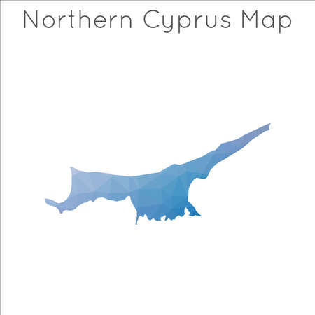 Low Poly map of Northern Cyprus. Northern Cyprus geometric polygonal, mosaic style map. Illustration