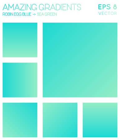 Colorful gradients in robin egg blue, sea green color tones. Actual gradient background, imaginative vector illustration. 일러스트