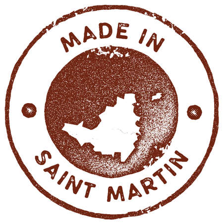Saint Martin map vintage stamp. Retro style handmade label, badge or element for travel souvenirs. Red rubber stamp with island map silhouette. Vector illustration. Illustration