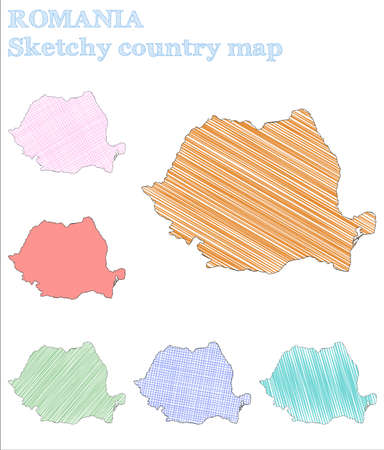 Romania sketchy country. Appealing hand drawn country. Astonishing childish style Romania vector illustration.