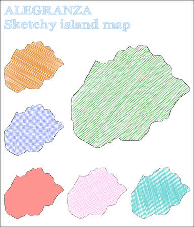 Alegranza sketchy island. Fantastic hand drawn island. Favorable childish style Alegranza vector illustration.