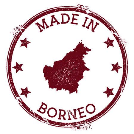 Gemaakt in Borneo stempel. Grunge rubberzegel met Made in Borneo-tekst en eilandkaart. Goddelijke vectorillustratie.